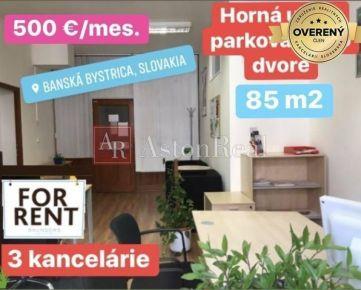 Na prenájom: kancelárske priestory 85 m2 v centre BB s parkovaním