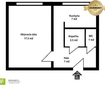 1 izb. byt po čiastočnej rekonštrukcii v Rači - Závadská ulica, 37 m2