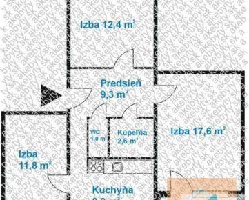 3 izb. byt, ESTÓNSKA ul., loggia, zariadený