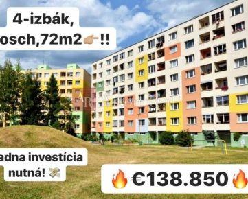 PREDAJ: 4-izbový byt, Solinky, 72m2, Žilina - ul. Smreková
