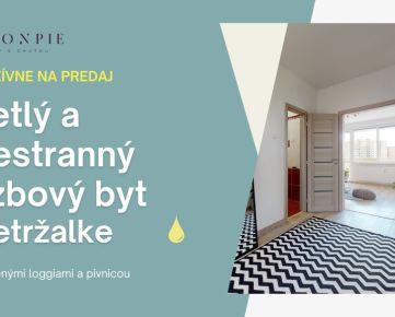REZERVOVANE - Na predaj slnečný a priestranný 3-izbový byt s dvoma veľkými loggiami v príjemnej časti na začiatku Petržalky