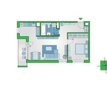 2-izbový byt s balkónom v novostavbe NUPPU, Ružinov (D1107)