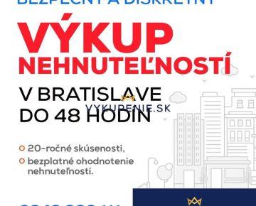 Výkup nehnuteľností v Bratislave a v okolí do 48 hodín! U nás neplatíte provízie! Celý proces prebieha pod dohľadom notára! Žiadne skryté poplatky, ocenenie nehnuteľnosti zdarma! U nás nečakáte na hyp