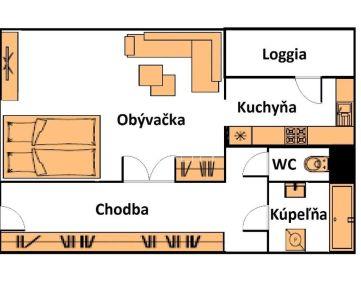 Na predaj 1 izbový byt s LOGGIOU v pôvodnom stave.