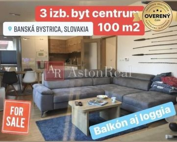 Predaj: 3 izb. byt, 100 m2, balkón, loggia, park. miesto v centre BB
