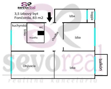 ***TOP*** 3,5 izbový byt B.Bystrica FONČORDA, KYJEVSKÉ NÁMESTIE, 83 m2, BALKÓN A LOGGIA