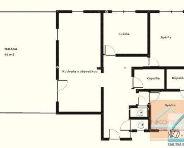 4 izb. byt s terasou, GORKÉHO ul., po komplet. rekonštrukcii