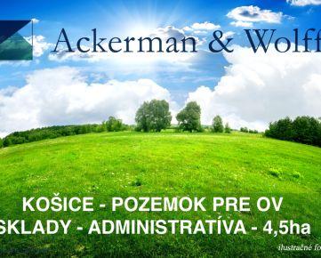 Ackmerman & Wolff ponúka na predaj pozemok pre sklad, administratívu a OV v Košiciach o výmere 4,5ha