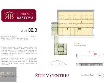 CENTURY 21 Realitné Centrum ponúka -slnečný tehlový byt v centre Košíc s výťahom na 2. posch., orient v/z, 126 m2, vlastné kúrenie