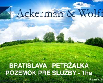 Ackerman & Wolff ponúka na predaj pozemok pre sklad, administratívu, predajňu v Petržalke o výmere 1ha