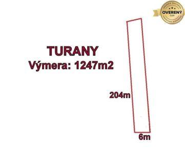 TURANY - pozemok 1247 m2,okr. Martin