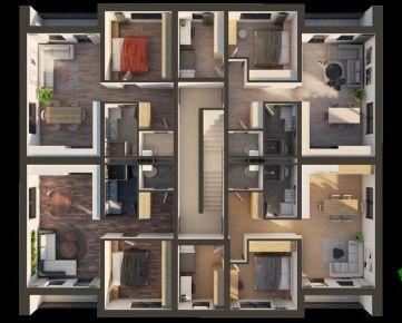 Ponúkame na predaj 3 izbový byt na 3 podlaží dokončený v štandarde s ÚP 68,4m2  a 2 parkovacími miestami