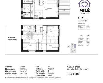 Nový projekt - milebyvanie.sk - 4 izb. mezonet so štandardom, záhradou a parkovaním v cene