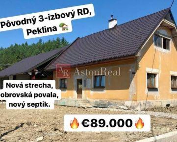 PREDAJ: 3 izbový podpivničený rodinný dom na slnečnom pozemku,Peklina