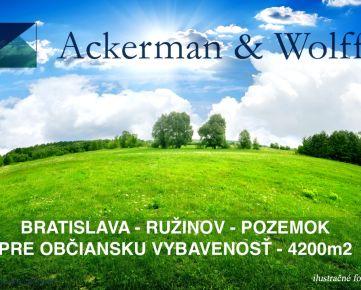 Ackerman & Wolff s.r.o. ponúka na predaj pozemok pre občiansku vybavenosť – Bratislava – Ružinov – 4200 m2