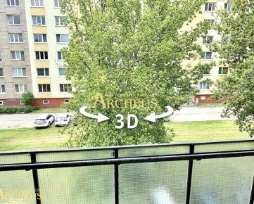 3D PREHLIADKA: 2 IZBOVÝ BYT S LODŽIOU, 49 m2, SÍDLISKO 2, PREŠOV