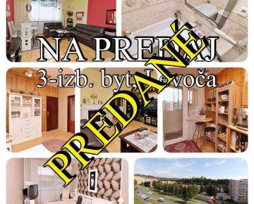 PREDANÝ: 3-izbový čiastočne obnovený byt s lodžiou, ul. J. Czauczika, Levoča