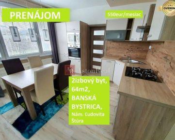PRENÁJOM  veľký 2izbový byt, 64m2, zrekonštruovaný, Banská Bystrica
