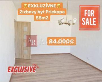 Predaj:2izbový komplet prerobený byt Martin-Priekopa s 2 balkónmi, 55m2