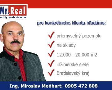 Priemyselný pozemok 12 000 m2 - 20 000 m2, Vajnory a okres Bratislava III, kúpa pozemku na sklady