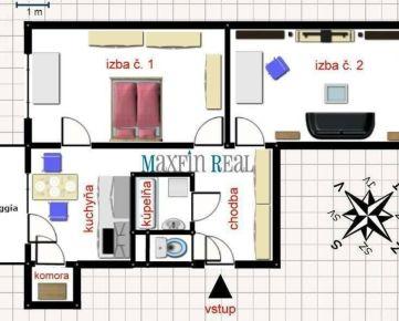 MAXFIN REAL - ponúka na prenájom 2-izobvý byt v Nitre