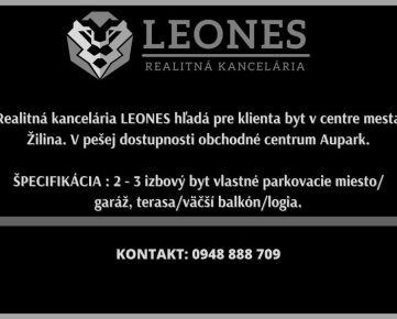 Realitná kancelária LEONES hľadá byt v centre mesta Žilina.