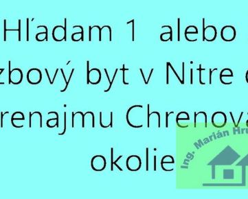 Hľadám prenájom / podnájom 1 alebo 2 izbový byt  na Chrenovej v Nitre .