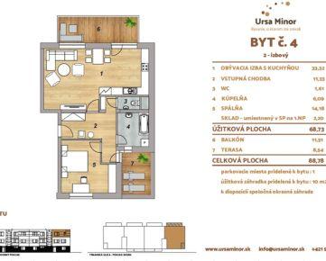 2 - izbový s balkónom a rohovou terasou č. 4 / BD 2 - 3.NP (2.poschodie) s vlastným dvorom
