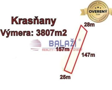 KRASŇANY - pozemok 3807 m2, okr. Žilina