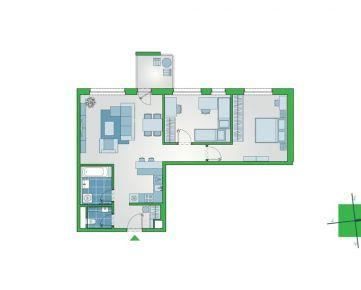 Priestranný 3-izbový byt s lodžiou a výhľadom na dvor v NUPPU Jasmiini, Ružinov (D1111)