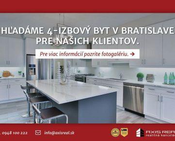 AXIS REAL:: Hľadáme pre našich klientov 4-izbový byt v Bratislave V.