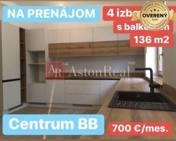 PRENÁJOM: 4 izb. byt 136 m2, balkón, centrum BB, úplná rekonštrukcia