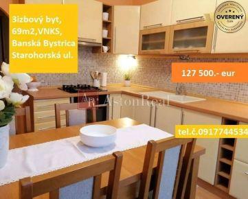 VÝBORNÁ CENA - 3izbový byt, 69m2, Banská Bystrica, Starohorská ul.