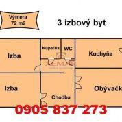 3-izb. byt 72m2, pôvodný stav