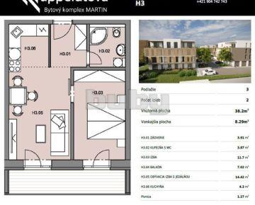 Byty Ruppeldtova: Na predaj nový 2 izbový byt H3 v novostavbe, Martin - širšie centrum