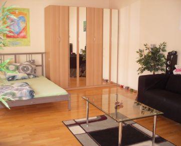 Pekný zariadený 1-izb. byt, 40 m², balkón, orientovaný do dvora, internet a TV v cene, na Záhradníckej ul. v širšom centre Bratislavy