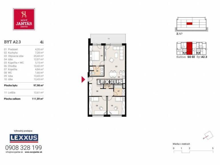 4-izb. byt 97m2, novostavba