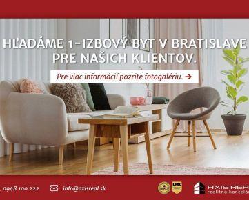 AXIS REAL:: Hľadáme pre našich klientov 1-izbový byt v Bratislave III.