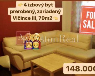 Predaj:4izbový zariadený byt Žilina- Vlčince III, 79m2 +balkón+pivnica