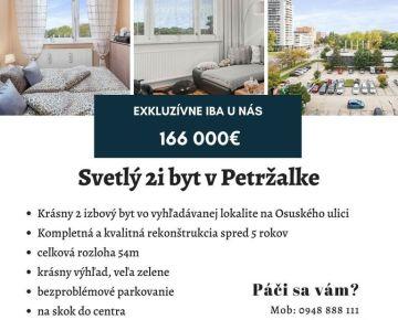!ABSOLÚTNA NOVINKA IBA U NÁS-TOP CENA! 2 izbový byt v Petržalke po kompletnej rekonštrukcii,parking pred domom, TOP lokalita a cena