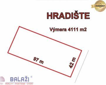 HRADIŠTE, pozemok výmera 4111 m2, okr. Partizánske