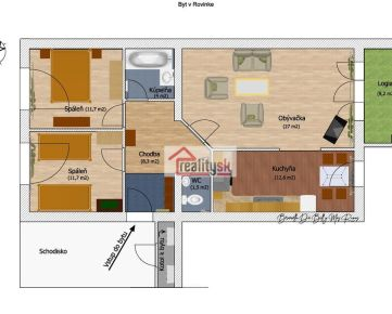 Na predaj 3-izbový byt s garážou V Rovinke.