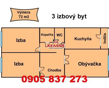 Exkluzívne na predaj 3 - izbový byt - VNKS v Banskej Bystrici,časť - Sásová