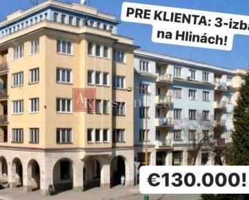 PRE KLIENTA: 3-izbový byt, 78m2, Hliny, Žilina