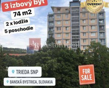 NA PREDAJ: 3izb. byt, 74m2, 2x lodžia, 5/12 posch. centrum B. Bystrica
