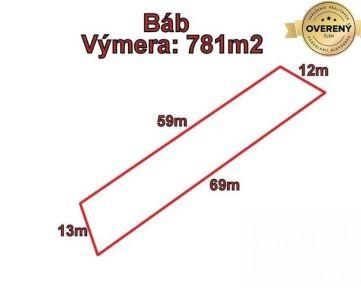 BÁB pozemok v intraviláne výmera 781m2, okr. Nitra