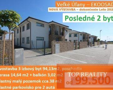 NOVÁ VÝSTAVBA – Leto 2021. Novostavba - 3 izbový byt 94,13 m2 s balkónom, terasou a parkoviskom pre 2 autá. Veľké Úľany