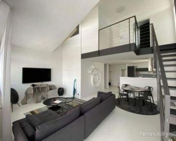 Prenájom 2 izbový mezonet, priestranný, zariadený, Zadunajská cesta, krb v byte, terasa 40 m2, garáž, Petržalka-pri Auparku, BA V