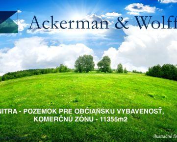 Ackerman & Wolff ponúka na predaj rozsiahly pozemok vNitre pre občiansku vybavenosť akomerčnú zónu - 11355m2
