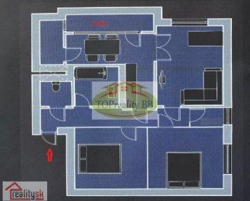 ZĽAVA!!! - Top ponuka - Veľký tehlový  3 izbový byt, 91 m2, s lodžiou  B. Bystrica, centrum  - cena 189 00€